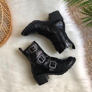 Dr. Martens Black Leather 3 Buckle Combat Boots 6